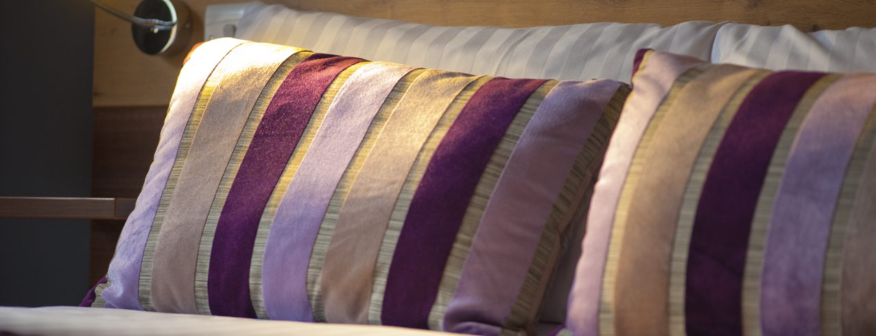 A close-up photo of Cedars Hotel bedroom pillows