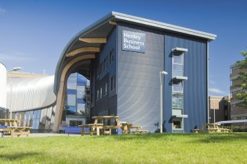 An outside photo of Henley Business School building