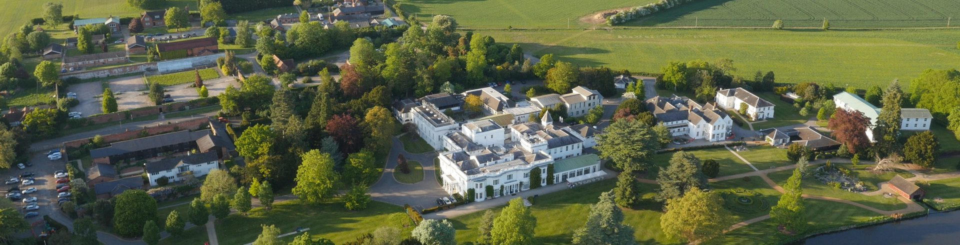 A photo aerial view of the Henley Business School campus in Greenlands