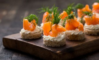 A photo of salmon canapes