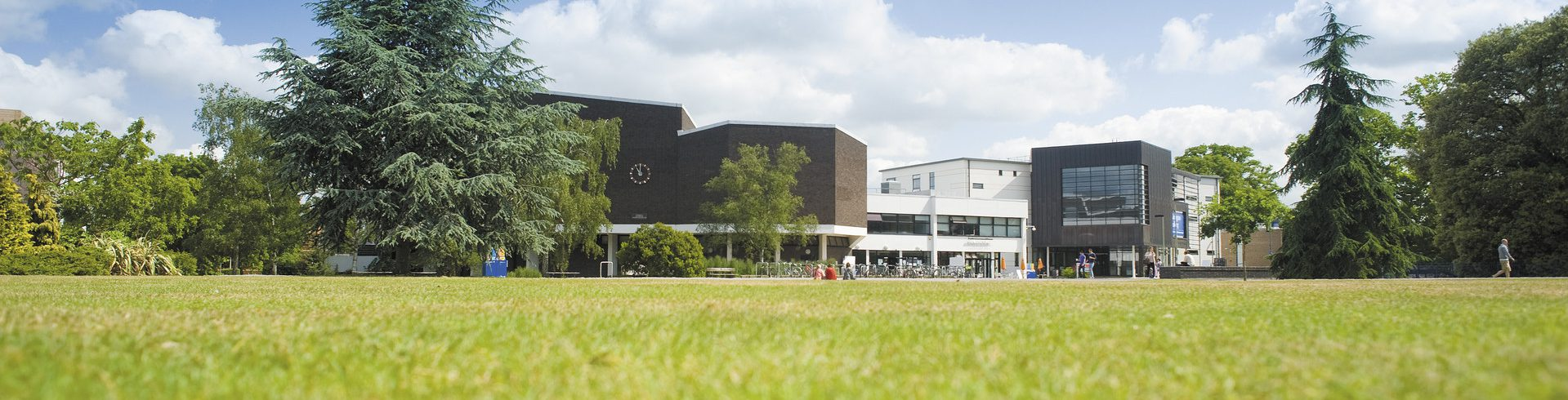 A photo of the central green quad on Whiteknights Campus