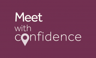 A red icon with meet with confidence slogan